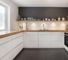 Tris Wall above the shelf - # shelf - - Küche - Home Sweet Home New Kitchen, Kitchen Decor, Kitchen Ideas, Scandinavian Kitchen, Minimalist Kitchen, Küchen Design, Kitchen Accessories, Home Kitchens, Home Furnishings