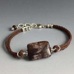 Natural Brown, Tan and Cream Colored - Rectangular shaped - Outback Jasper Gemstone, Sterling Silver & Brown Hemp Adjustable Bracelet with Wood Dangle - Handcrafted in CT USA - Steven James Jewelry Hemp Bracelets, Unique Bracelets, Bracelets For Men, Silver Bracelets, Jewelry Bracelets, Survival Bracelets, Yoga Jewelry, Fall Jewelry, Beaded Jewelry