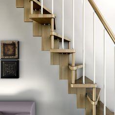 Detalle estructura de madera para escalera ahorro espacio