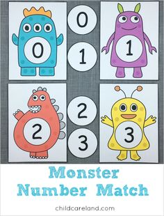 Monster Number Match (from Childcareland) Monster Activities, Early Learning Activities, Counting Activities, Infant Activities, Classroom Activities, Kids Learning, Numbers Preschool, Kindergarten Math, Preschool Activities