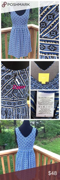 """Anthropologie Maeve Lazuli Tribal Print Dress Maeve Lazuli dress *  Flattering fitted top paired w/ flowy bottom *  Blue/black/white tribal print *  2 front pockets! *  Soft knit of cotton/poly blend *  Partial 12"""" invisible zip on side  *  Bodice lined in gray knit *  Size 4, runs small *  Measures (flat, unstretched): Bust 15 ½"""", Waist at band 13"""", total length from shoulder 35"""", fabric has some stretch *  Good condition – no stains, holes, tears, snags 🚫Trades/PP/holds Plz ask ?s esp. if…"""