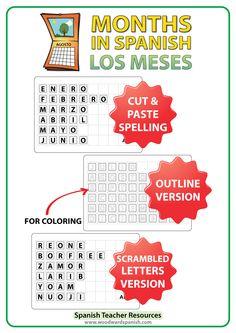 Spanish Months Spelling – Cut and Paste Activity -- Los meses del año en español –Cortar y Pegar