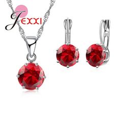 17 Colors Fashion Women 925 Sterling Silver Necklace Suits Couple Gifts Earrings set Pendant