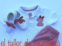 Conjunto de niña de polo, pantalón y bambas con telas a juego. Se puede personalizar el color y elegir el número. También para niños.