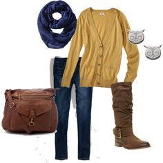 Mustard cardigan with infinity scarf; great for fall!
