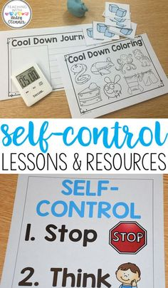 Ideas and resources for teaching students all about self-control. Resources for a cool down corner to help students self regulate, and lessons for teaching students about managing their emotions.