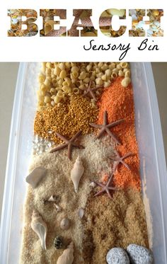 sensory bin Beach sensory bin - fun Summer play activity for kids - a great boredom busterBeach sensory bin - fun Summer play activity for kids - a great boredom buster Toddler Sensory Bins, Sensory Tubs, Sensory Boxes, Baby Sensory, Sensory Play, Toddler Messy Play, Eyfs Activities, Nursery Activities, Beach Activities