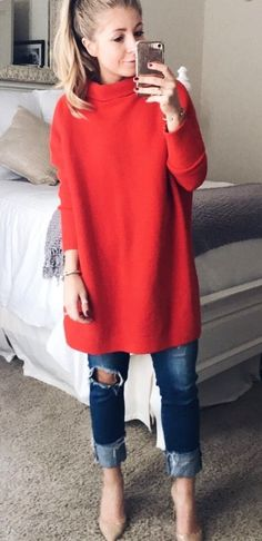 #winter #outfits red long sleeve shirt