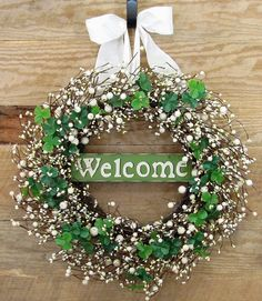 READY To SHIP - STORM Door Wreath - St. Patrick's Day Wreath - Welcome Sign - Green Berry Wreath - Spring Wreath - Front Door Wreath by Designawreath on Etsy