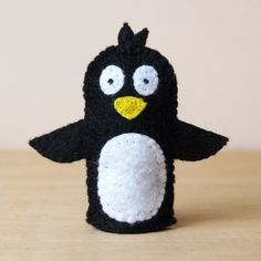Felt finger puppet penguin animal puppet by HandmadeByJoanneRich, $5.00