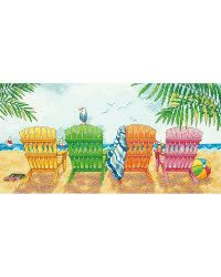 """Beach Chairs Counted Cross Stitch Kit-7""""X14"""" 14 Count"""