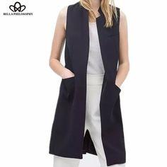 Tienda Online Nuevo estilo primavera verano blazer capa del chaleco de las  mujeres del collar del soporte largo traje de chaleco negro blanco azul  oscuro ... 5d224ed64a4f