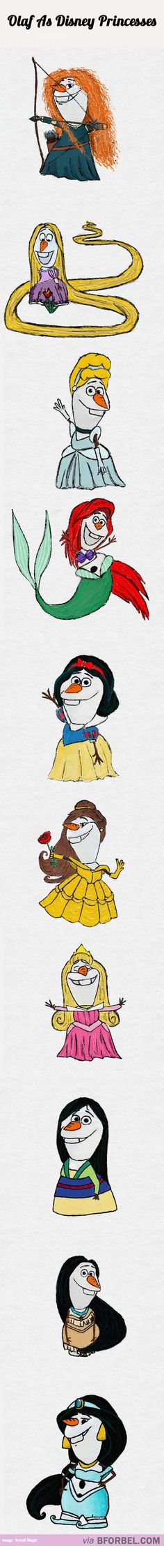 Olaf As Disney Princesses