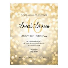 Elegant Sweet 16 Birthday Gold Glitter Lights 425x55 Paper Invitation Card Party
