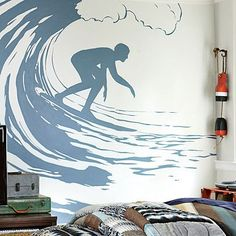 Surfer  Decal #potterybarnteen Brandon and Alecs room