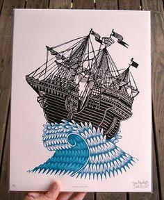 tugboat printshop. pittsburgh. block print.