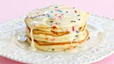 Cake batter flavored pancakes that are a sweet treat for a special occasion or everyday. Now you can have cake for breakfast!