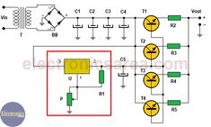 this 20 amp variable power supply varies its output voltage from to 15  volts and is based on the well-known voltage regulator