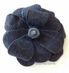 -Crafting, DIY, Projects, Decorating Denim flowers goes along with denim hand sewn baskets tutorial