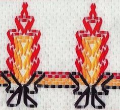 Discover thousands of images about Bordado Vela de Natal Vagonite- Material e Como Fazer Huck Towels, Swedish Weaving Patterns, Chicken Scratch Embroidery, Swedish Embroidery, Monks Cloth, Art Textile, Weaving Projects, Ribbon Work, Bargello
