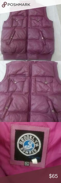LEATHER PUFFER VEST- purple XL Heavy leather Puffer Vest Size XL Purple  Vest is extremely warm with no rips, no stains, no tears SMOKE-FREE  PLEASE CONTACT ME FOR ANY CONCERNS OR QUESTIONS   THANKS FOR VISITING brooklyn bomber Jackets & Coats Vests