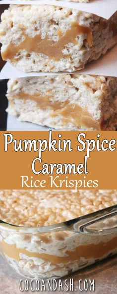 Pumpkin Spice Caramel Rice Krispies - Coco and Ash Pumpkin Spice Caramel Krispie Treats! These are the perfect Fall treat! Filled with Caramel, marshmallows, and a hint of pumpkin spice! Köstliche Desserts, Delicious Desserts, Dessert Recipes, Dessert Bars, Plated Desserts, Pumpkin Recipes, Fall Recipes, Rice Recipes, Recipies