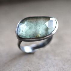 Moss Aquamarine Ring, Watery Sage Green Rose Cut Stone Oxidized Sterling Silver Ring