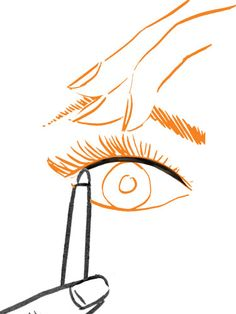 Gently pull your lid upward so you can see its inner rim. Line the rim with a few coats of jet-black waterproof pencil. Then line the inner rim of your lower lash line.