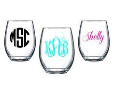 Monogram Stemless Wine Glass  Personalized to by CarolinaCrazy
