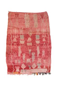 Living Coral Rug: A sweetvintage Moroccan Boujad rug made in the 1970s