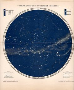 1903 star map of the southern skies original antique celestial print. $65.00, via Etsy.