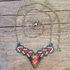 Nispannatara...seed bead necklace, brick stitch,OOAK, beaded, tribal