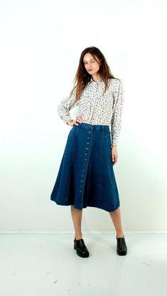 Denim Prairie Skirt Maxi Jean Skirt Button Up Skirt Flared Skirt Large Denim Skirt Boho Skirt Mid Calf Length Blue Jean Skirt