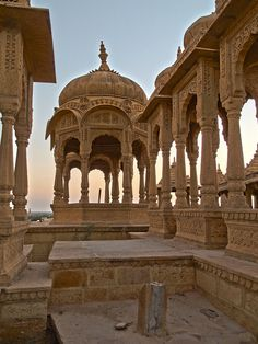 The royal cenotaphs of Bada Bagh in Rajasthan, India (by xsalto).