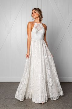 The Harri high neck wedding dress from Grace Loves Lace& new ICON collectio. - the dress - Western Wedding Dresses, Top Wedding Dresses, Cute Wedding Dress, Princess Wedding Dresses, Bridal Dresses, Wedding Gowns, Lace Wedding, Modest Wedding, Mermaid Wedding