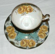 VINTAGE CUP AND SAUCER MADE IN JAPAN GOLD AND TEAL WITH YELLOW ROSES  #MADEINJAPAN