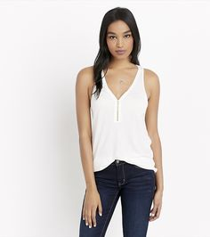 Tank you. A relaxed cut and a trendy front zip are what make this top so effortlessly chic
