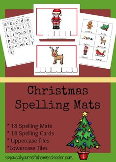 So You Call Yourself a Homeschooler has FREE Christmas Spelling Mats.  Included in this pack are 18 spelling mats, 18 spelling cards, a