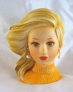 Inarco Teen Head Vase Vintage Windswept Blond Hair $125