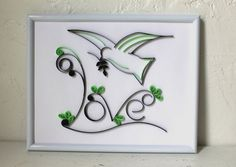 Quilled Love Bird  OOAK  Handmade Framed Quilled by Quilling247