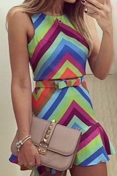 Zig Zag Color Block Sleeveless Dress