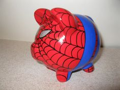 Spiderpig Piggy Bank Inspired by Spiderman by PigPatrol on Etsy