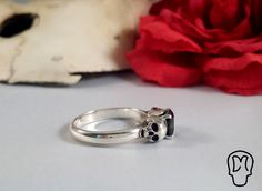 Sterling Silver Skull Ring Memento Mori Black Stone by DMJewels, Skull Engagement Ring, Silver Skull Ring, Skull Jewelry, Memento Mori, Handmade Silver, Frost, Black Friday, Polymer Clay, Wedding Rings