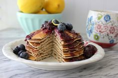Gluten-Free Lemon Ricotta Protein Pancakes (only uses rolled oats for flour portion)