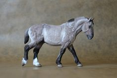 'Achille' 1:32 scale Percheron Stallion limited edtion 30 - made and painted by Harriet Knibbs, Grulla colourway *sold*