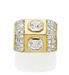 A RETRO DIAMOND, GOLD AND PLATINUM 'TOIT' RING, BY RENE BOIVIN