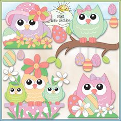 Soft Spring Owls 2 - NE Trina Clark Clip Art : Digi Web Studio, Clip Art, Printable Crafts & Digital Scrapbooking!