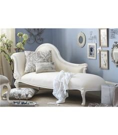 Creamy white Victorian chaise lounge