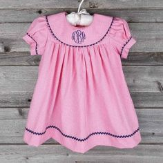 Collared Pink Gingham Dress with Navy Lining - Baby Smocked Auctions