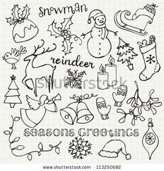 Hand Drawn Illustration Christmas Fotos